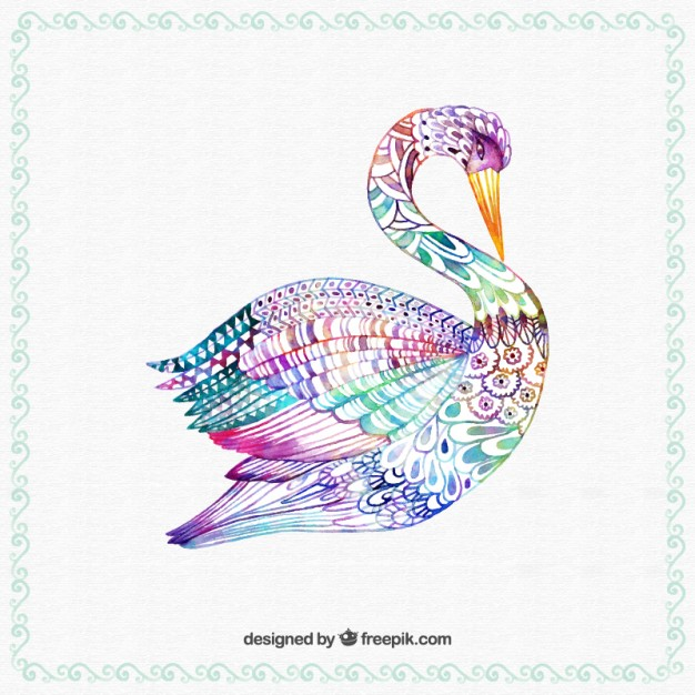 hand-painted-colorful-swan_23-2147522652